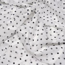 Tissu mousseline blanc cassé à pois noir et rayures blanches et argent x 10 cm