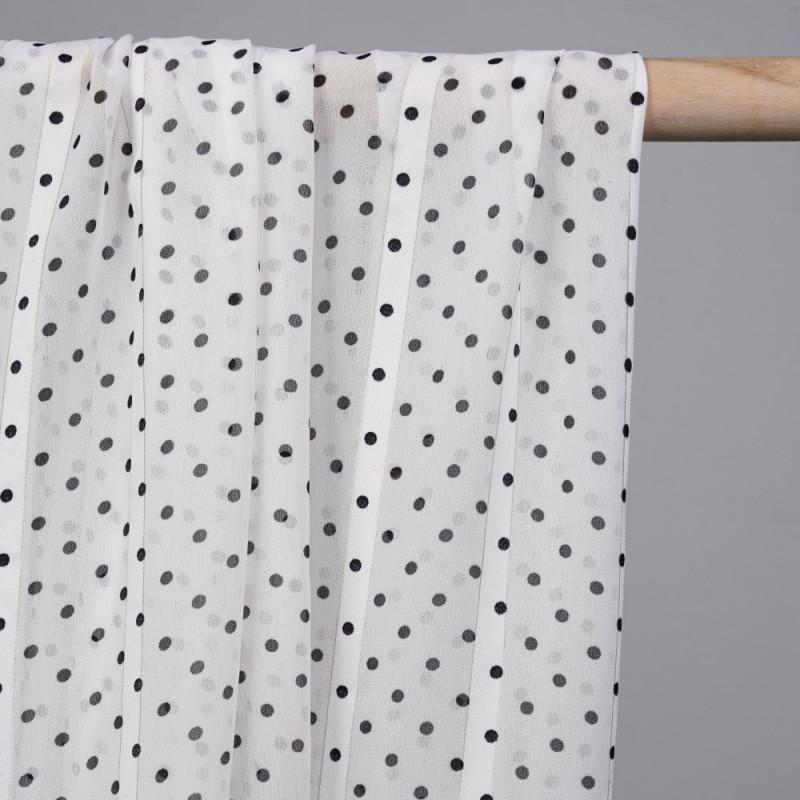 Tissu mousseline blanc cassé à pois noir et rayures blanches et argent - mercerie en ligne - pretty mercerie
