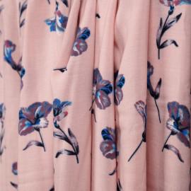 Tissu viscose rose à motif fleur bleu et brique et blanche et grise - mercerie en ligne - pretty mercerie
