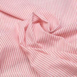 Tissu poly-coton blanc motif rayures mini pointillés rouge x 10cm