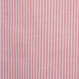 Tissu poly-coton blanc motif rayures mini pointillés rouge - mercerie en ligne - pretty mercerie