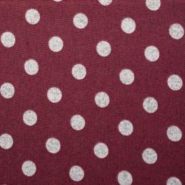 Tissu jersey bordeaux à pois gris - mercerie en ligne - pretty mercerie