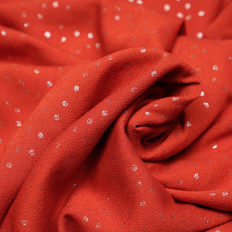 Tissu crêpe viscose brique à motif mini pois argentés - pretty mercerie - mercerie en ligne