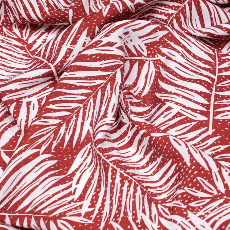 Tissu viscose rouge garnet à motif feuilles de palmier - pretty mercerie - mercerie en ligne