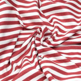 Tissu coton gratté à motif rayures blanches et rouges x 10cm