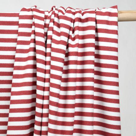 Tissu coton gratté à motif rayures blanches et rouges - pretty mercerie - mercerie en ligne