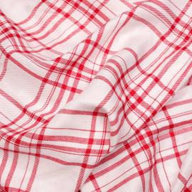 Tissu viscose sergé blanc à motif tissé carreaux rouge x 10cm