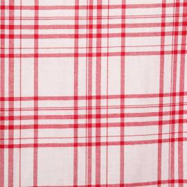 Tissu viscose sergé blanc à motif tissé carreaux rouge - pretty mercerie - mercerie en ligne