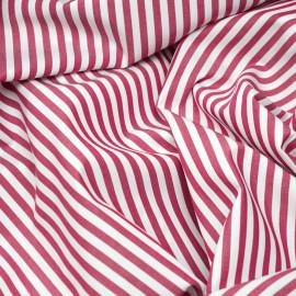 Tissu coton blanc à rayures tissées rouges terre x 10cm