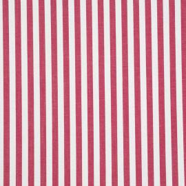 Tissu coton blanc à rayures tissées rouges terre - pretty mercerie - mercerie en ligne