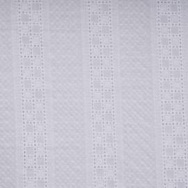 Tissu coton broderie anglaise blanc motif bandes à carreaux - pretty mercerie - mercerie en ligne