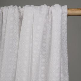 Tissu coton broderie anglaise blanc motif cercles - pretty mercerie - mercerie en ligne