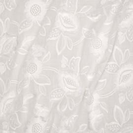Tissu coton broderie anglaise blanc cassé motif fleurs et pétales à franges - mercerie en ligne - pretty mercerie