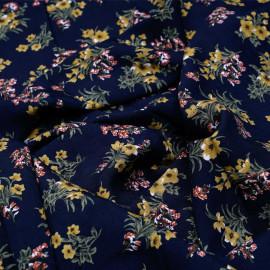 Tissu viscose bleu nuit à motif fleuri ocre brique vert et blanc - pretty mercerie - mercerie en ligne