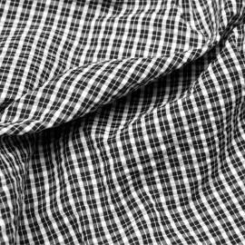 Tissu coton seersucker tartan noir et blanc x 10cm