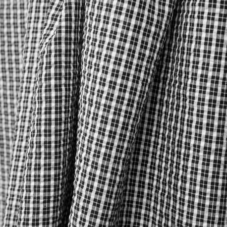 Tissu coton seersucker tartan noir et blanc - pretty mercerie - mercerie en ligne