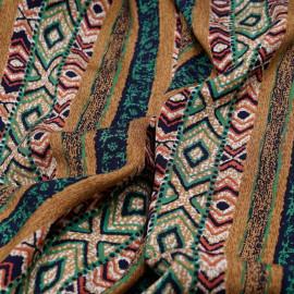 Tissu viscose à bande motif ethnique x 10 cm