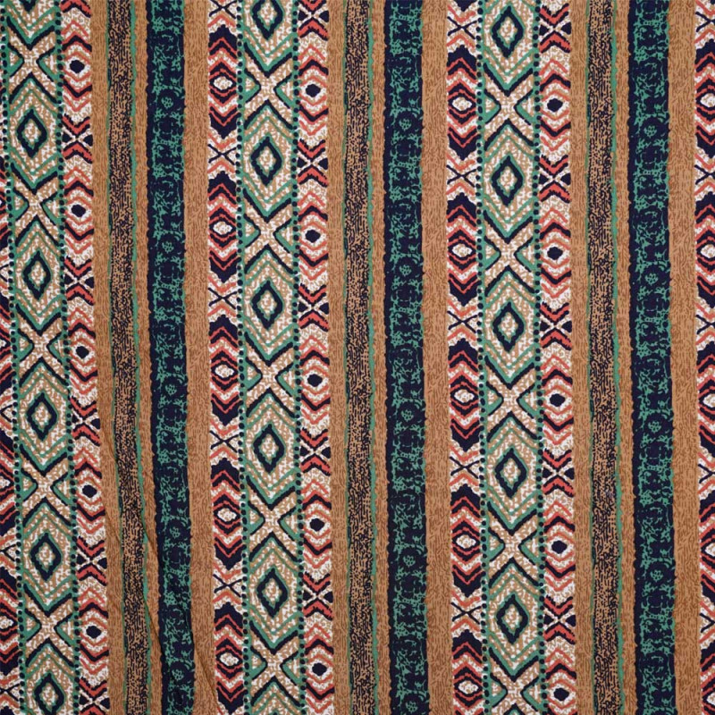 Tissu viscose à bande motif ethnique - pretty mercerie - mercerie en ligne