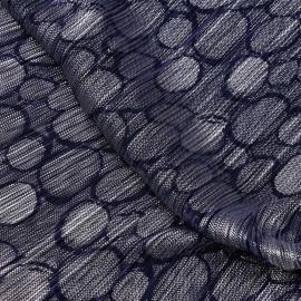 Tissu plissé bleu à motif ronds et pois argent x 10 cm