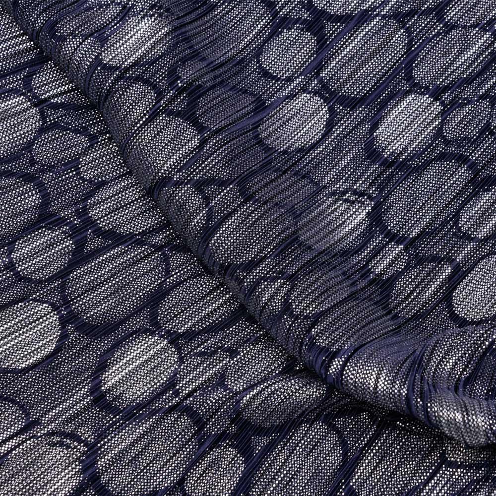 Tissu plissé bleu à motif ronds et pois argent - pretty mercerie - mercerie en ligne