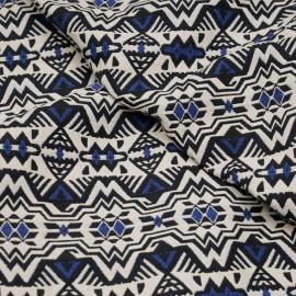 Tissu jacquard motif eagle aztèque bleu  X 10 CM