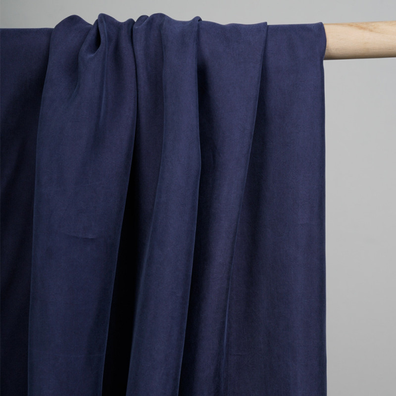 tissu cupro et coton bleu patriote - pretty mercerie - mercerie en ligne
