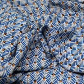 Tissu viscose écru à motif éventail africa x 10 cm