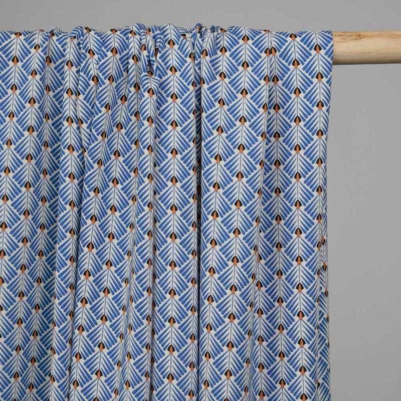 Tissu viscose écru à motif éventail africa - pretty mercerie - mercerie en ligne