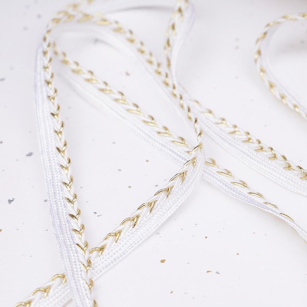 passepoil blanc et tressé or et blanc - pretty mercerie - mercerie en ligne