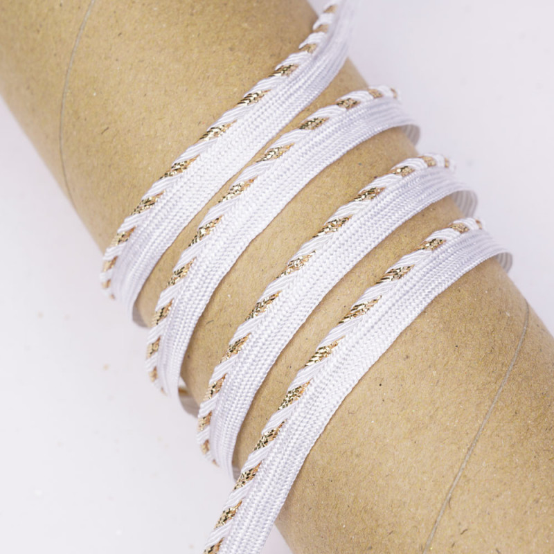 passepoil blanc bandes or et blanches - pretty mercerie - mercerie en ligne