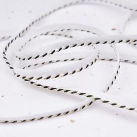 passepoil tressé blanc et noir et or - pretty mercerie - mercerie en ligne