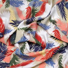 Tissu nylon et viscose motif summer leaf x 10cm