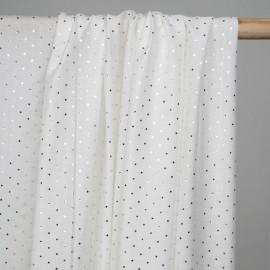Tissu voile viscose blanc motif étoile doré - pretty mercerie - mercerie en ligne