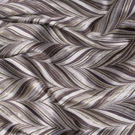 Tissu jacquard motif graphique camomille et mauve twilight et lurex argent X 10 CM