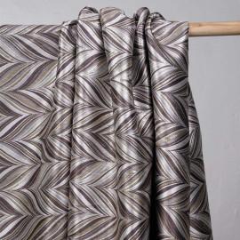 Tissu jacquard motif graphique camomille et mauve twilight et lurex argent - pretty mercerie - mercerie en ligne