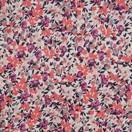 Tissu coton blanc cassé motif petites fleurs corail et nude et violettes  - pretty mercerie - mercerie en ligne