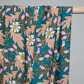 Tissu viscose bleu canard motif fleuri rose et nude et vert anis  - pretty mercerie - mercerie en ligne