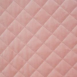 Tissu matelassé velours rose pastel motif losange - mercerie en ligne - pretty mercerie