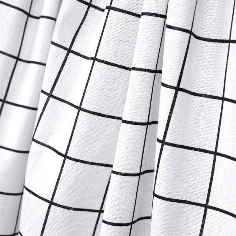 Tissu toile de coton blanc motif carreaux noir - mercerie en ligne - pretty mercerie