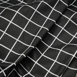 Tissu toile de coton noir motif carreaux blanc x 10cm