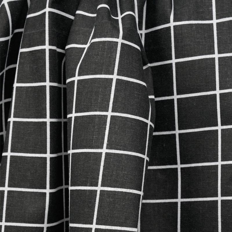Tissu toile de coton noir motif carreaux blanc - mercerie en ligne - pretty mercerie