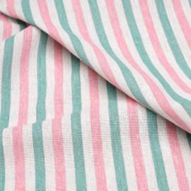 Tissu toile de coton motif rayé blanc cassé et crème de menthe et rose x 10cm