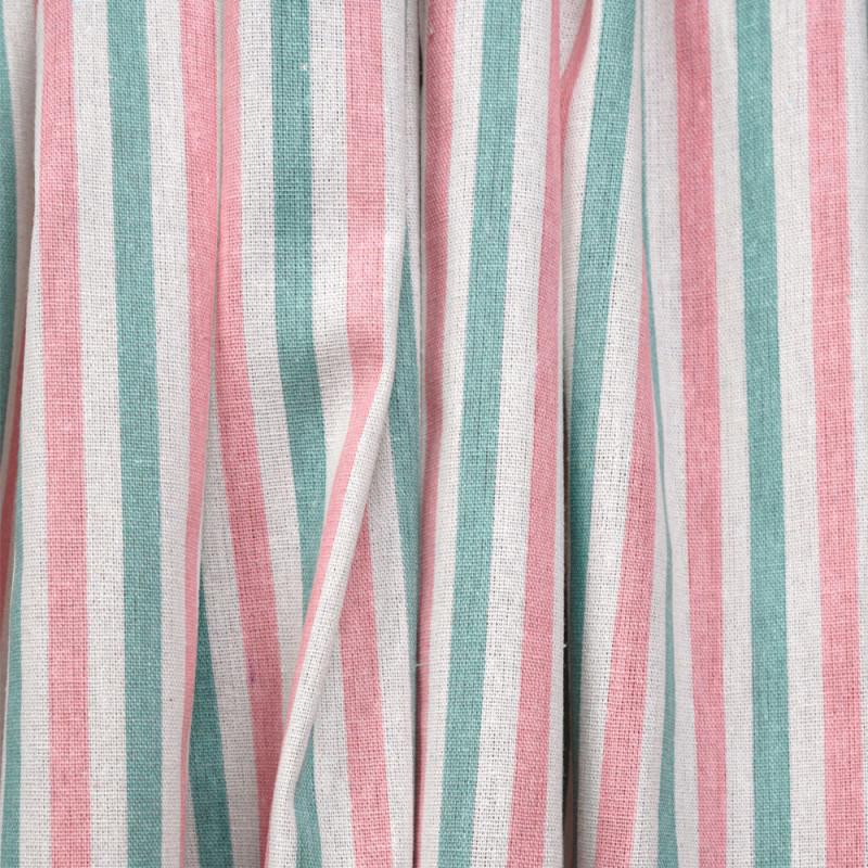 Tissu toile de coton motif rayé blanc cassé et crème de menthe et rose - mercerie en ligne - pretty mercerie