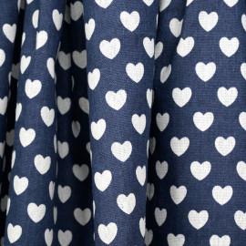 Tissu toile de coton bleu motif coeur blanc cassé - mercerie en ligne - pretty mercerie