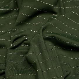 Tissu maillot de bain vert foncé rayé lurex argent - pretty mercerie - mercerie en ligne
