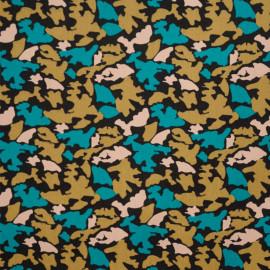 Tissu coton noir motif camouflage bleu mosaïque et latté et rose shell - mercerie en ligne - pretty mercerie