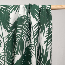 Tissu nylon et viscose blanc motif feuillage vert - pretty mercerie - mercerie en ligne