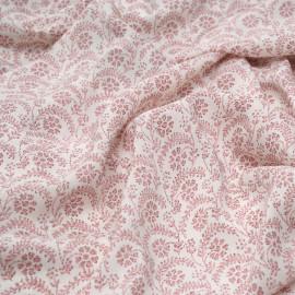 Tissu viscose blanc motif fleuri rose x 10cm