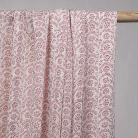 Tissu viscose blanc motif fleuri rose - pretty mercerie - mercerie en ligne