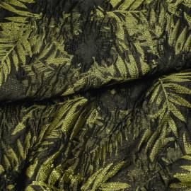 Tissu jacquard motif feuillage vert effet déchiré et fil lurex or X 10 CM